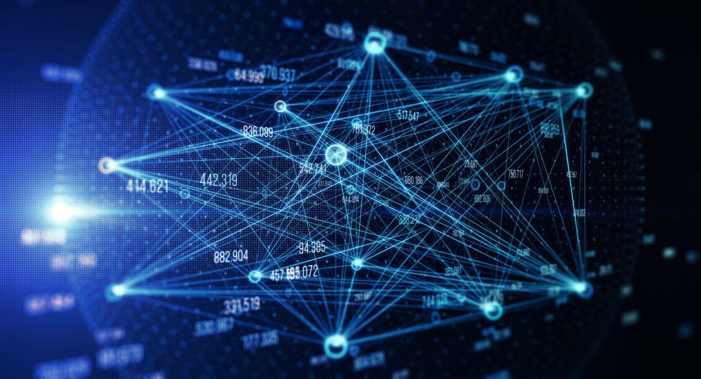 Netz aus vielen Zahlen, die durch Linien verbunden sind